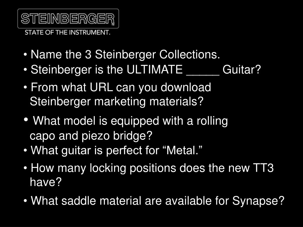 Name the 3 Steinberger Collections.