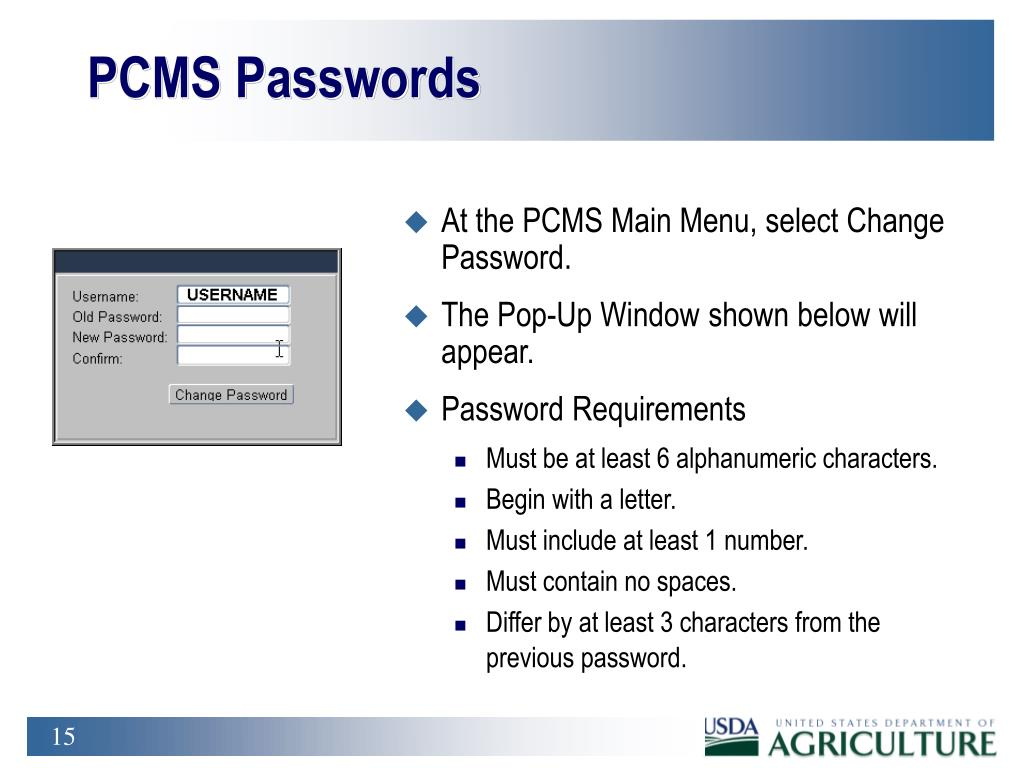 PCMS Passwords