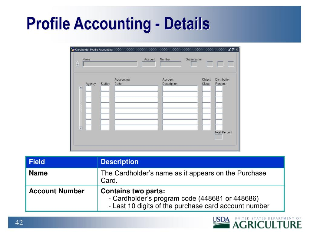 Profile Accounting - Details
