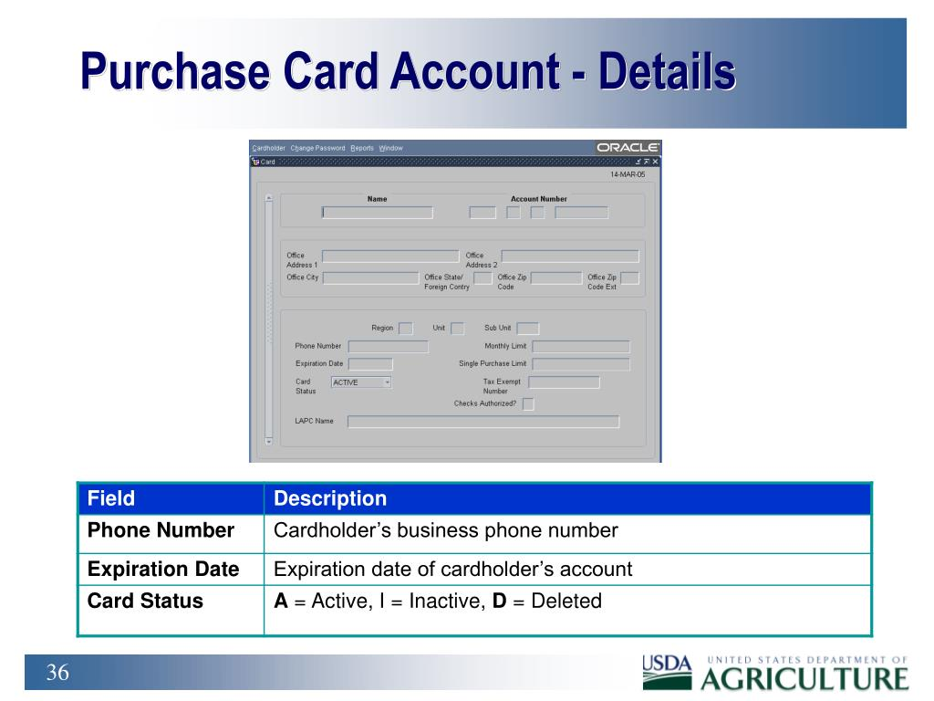 Purchase Card Account - Details
