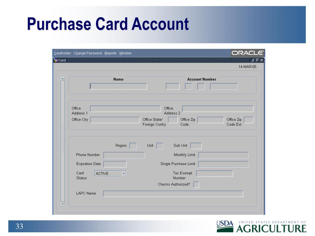 Purchase Card Account