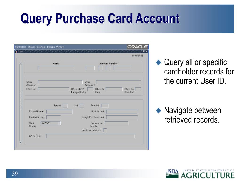 Query Purchase Card Account