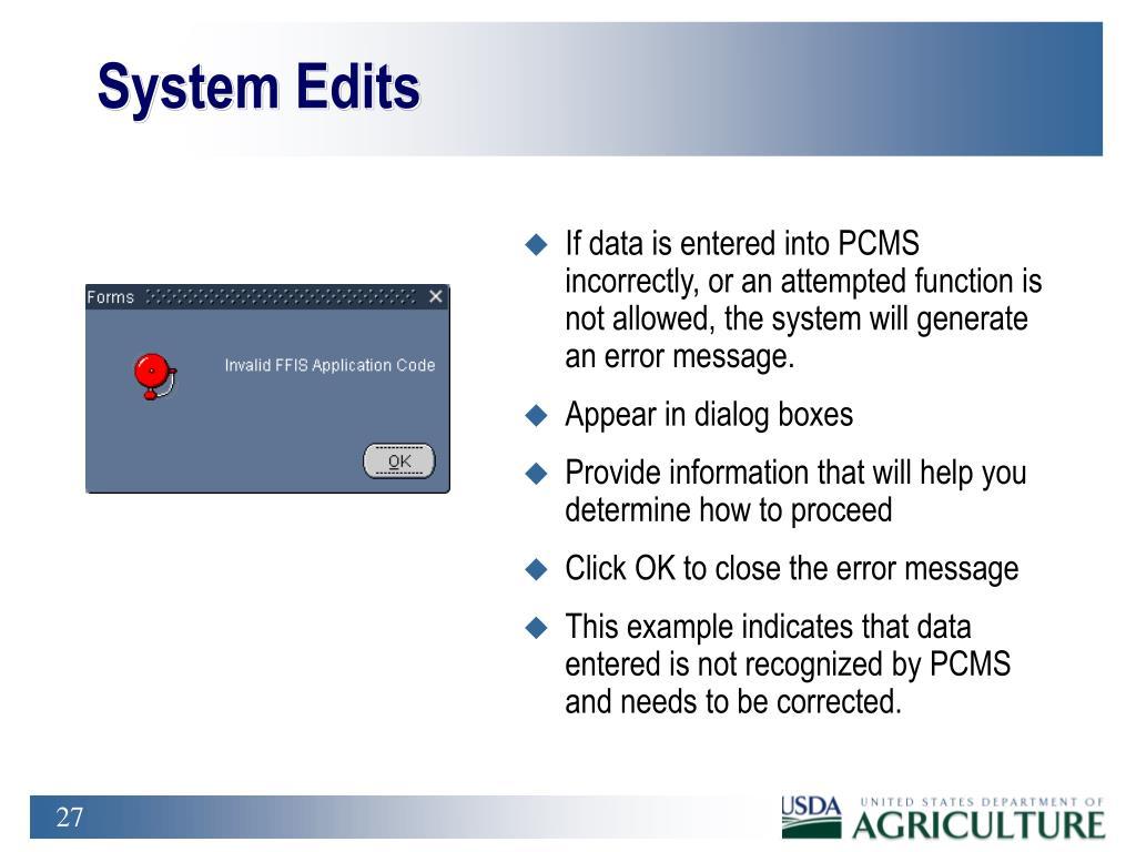 System Edits