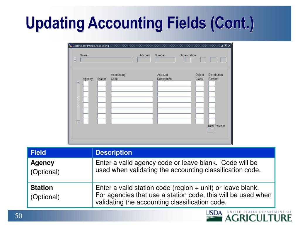 Updating Accounting Fields (Cont.)