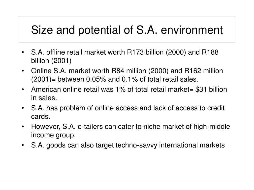 Size and potential of S.A. environment