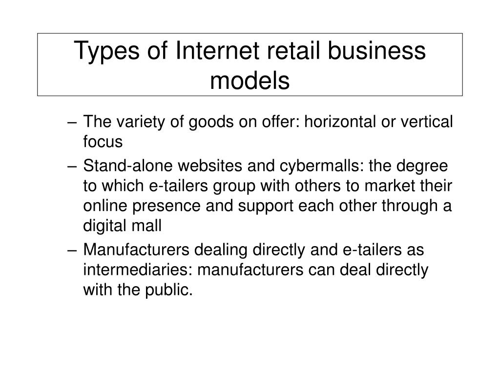 Types of Internet retail business models