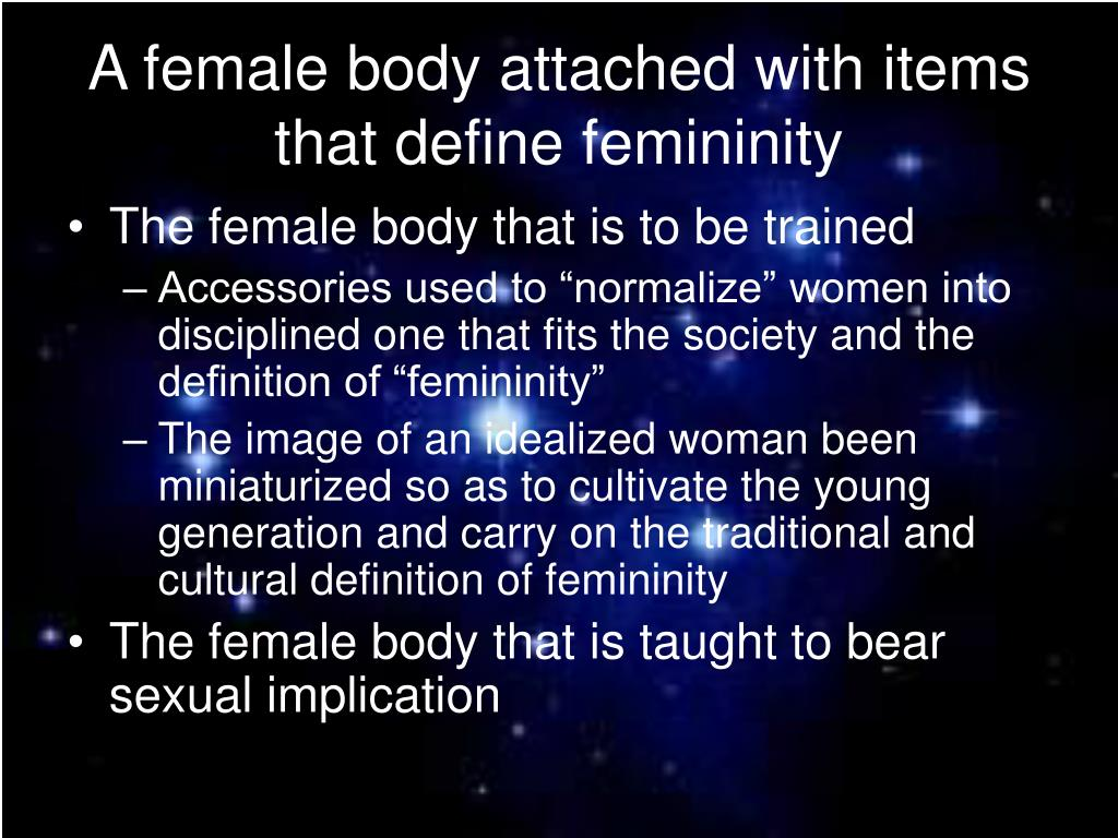 A female body attached with items that define femininity