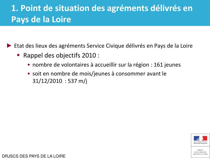 1 point de situation des agr ments d livr s en pays de la loire