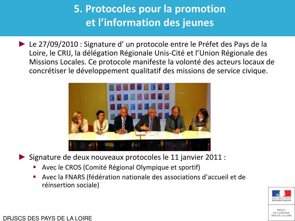 5. Protocoles pour la promotion