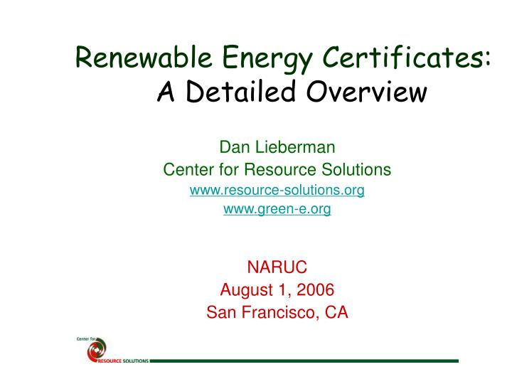 Renewable energy certificates a detailed overview