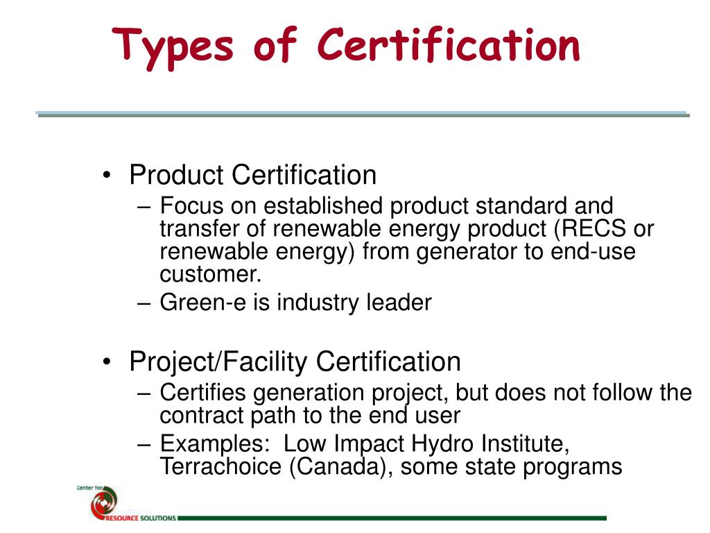 Types of Certification