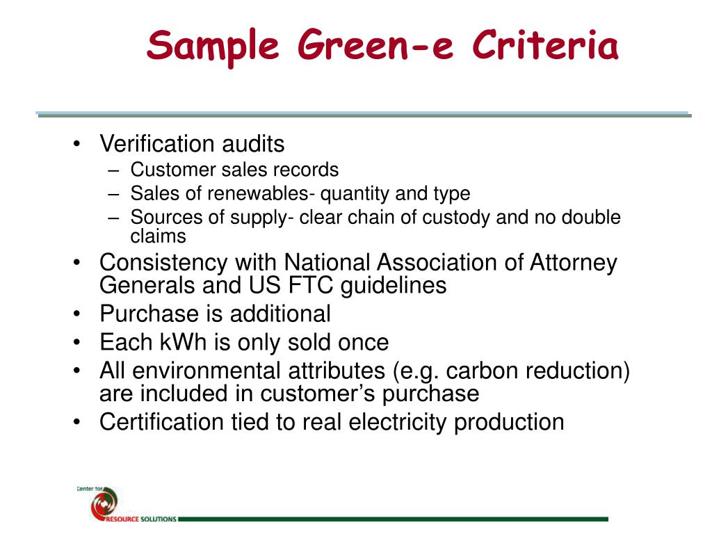 Sample Green-e Criteria