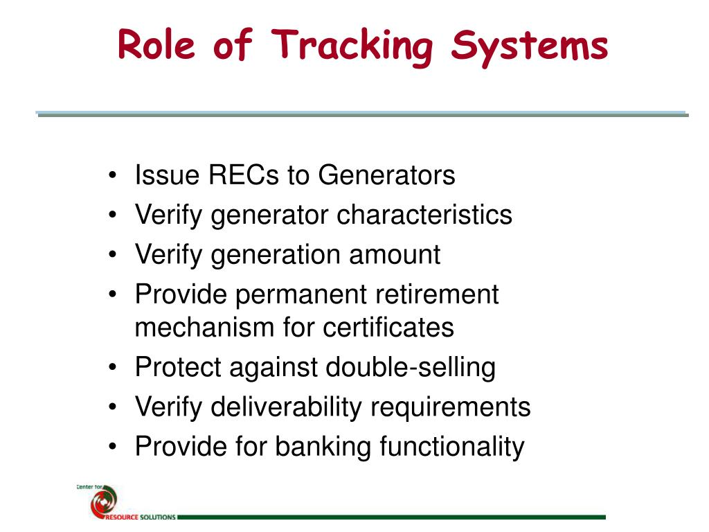 Role of Tracking Systems