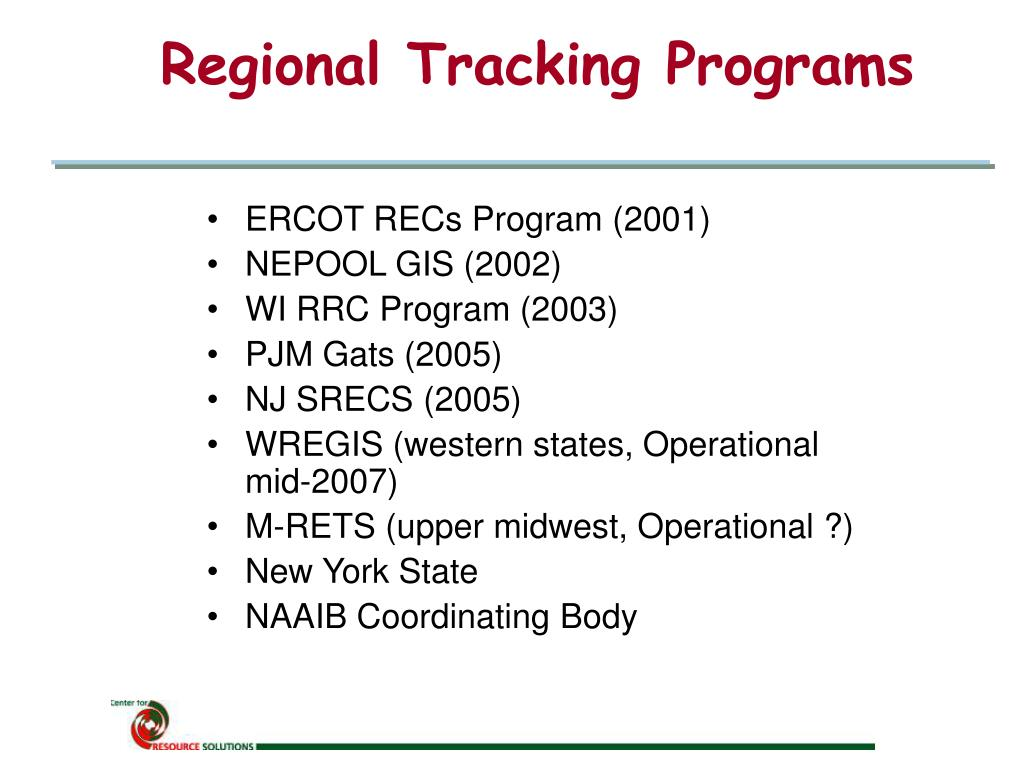 Regional Tracking Programs