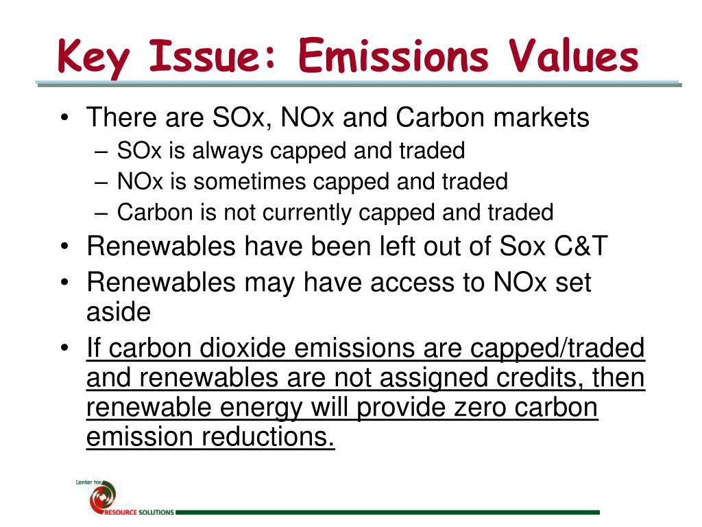 Key Issue: Emissions Values