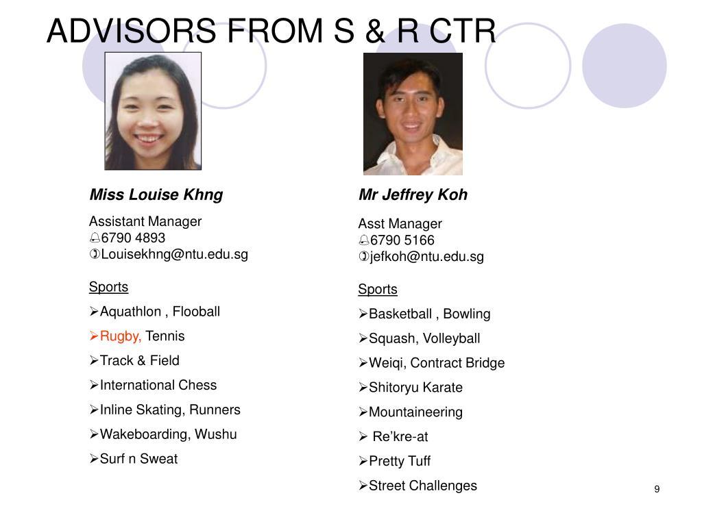 ADVISORS FROM S & R CTR