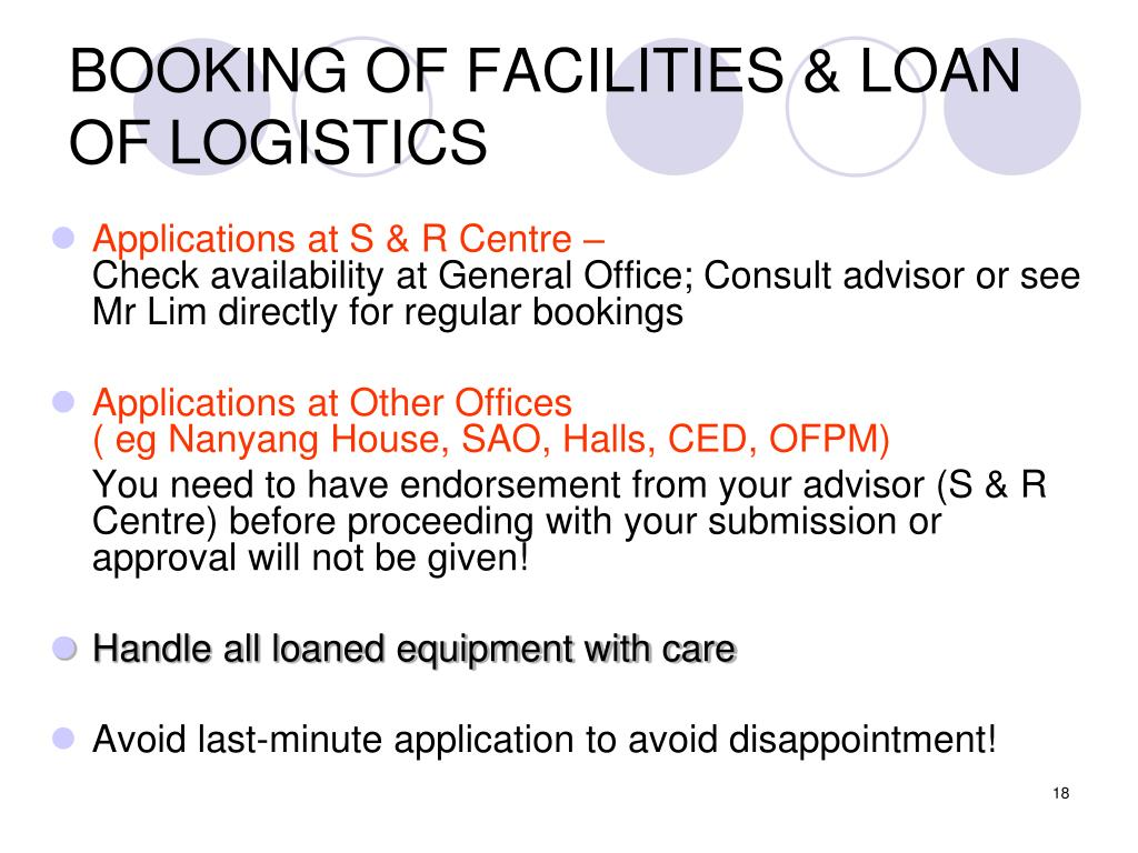 BOOKING OF FACILITIES & LOAN OF LOGISTICS