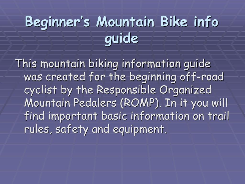 Beginner's Mountain Bike info guide