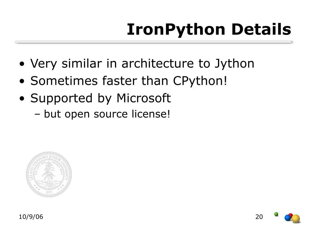 IronPython Details