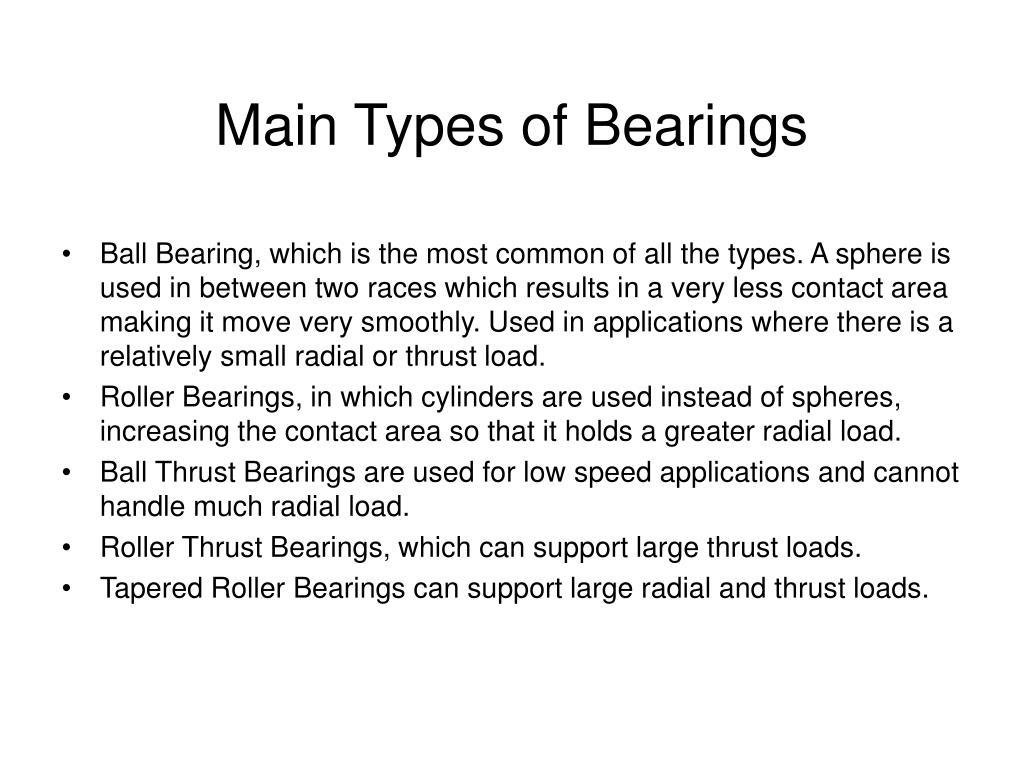Main Types of Bearings