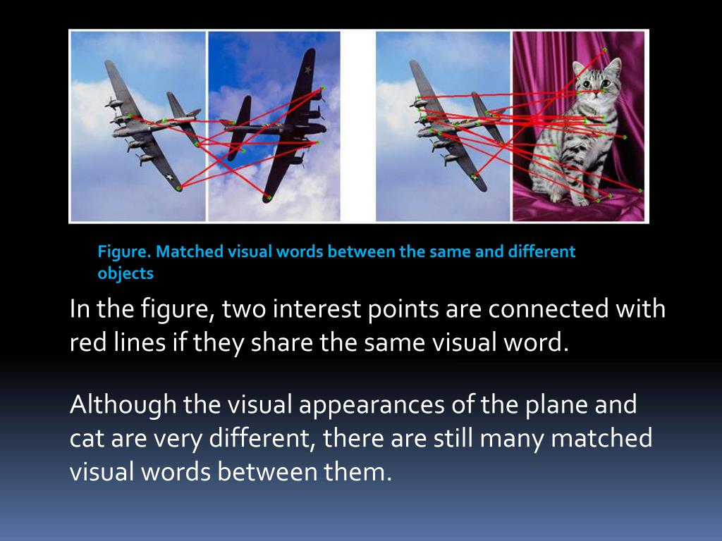Figure. Matched visual words between the same and different objects