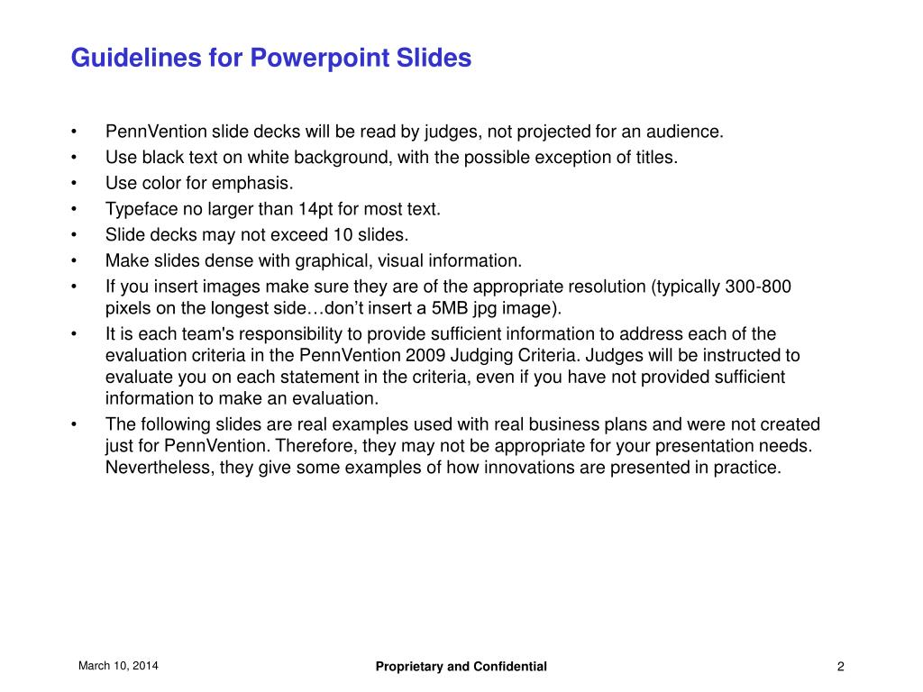 Guidelines for Powerpoint Slides