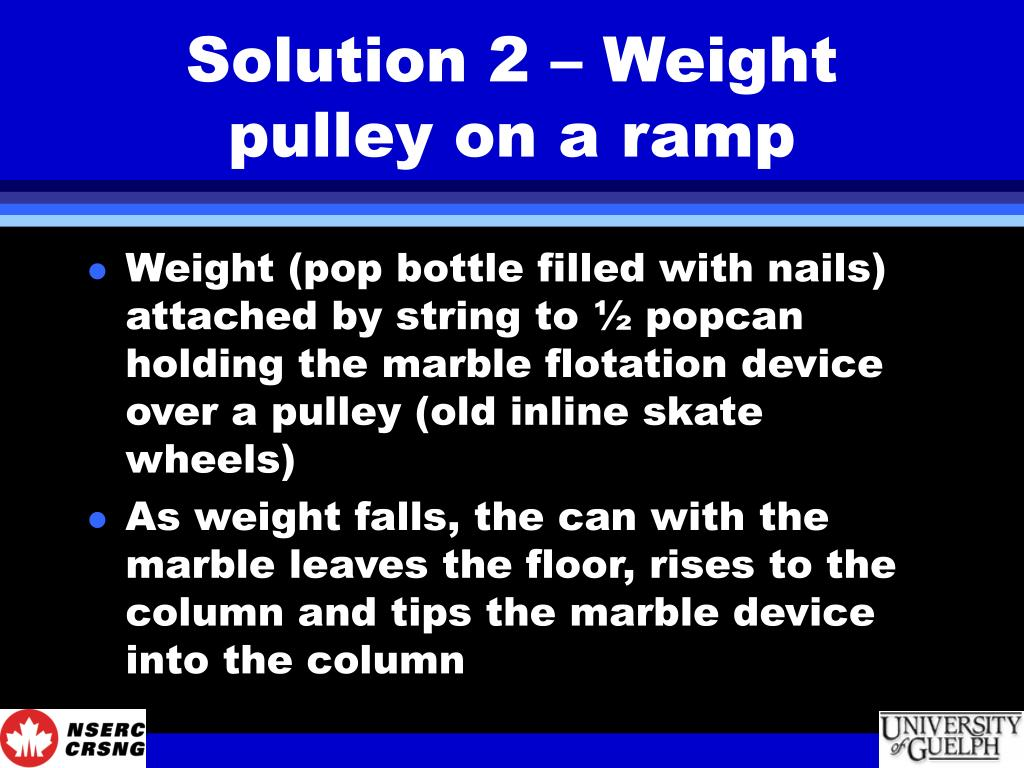 Solution 2 – Weight pulley on a ramp