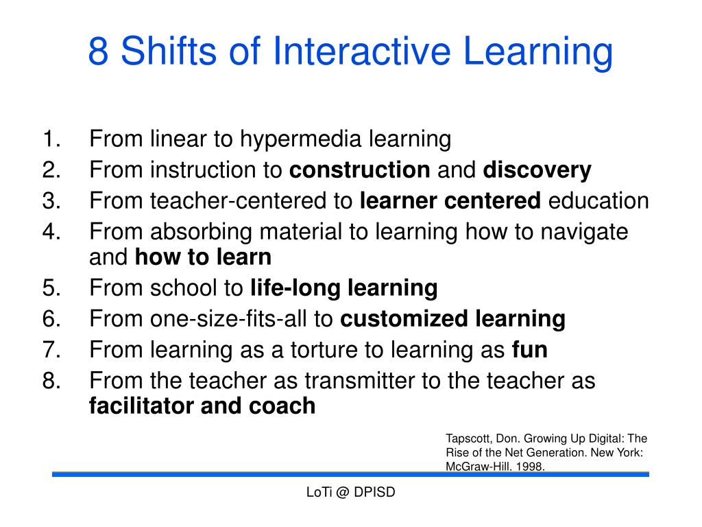 8 Shifts of Interactive Learning