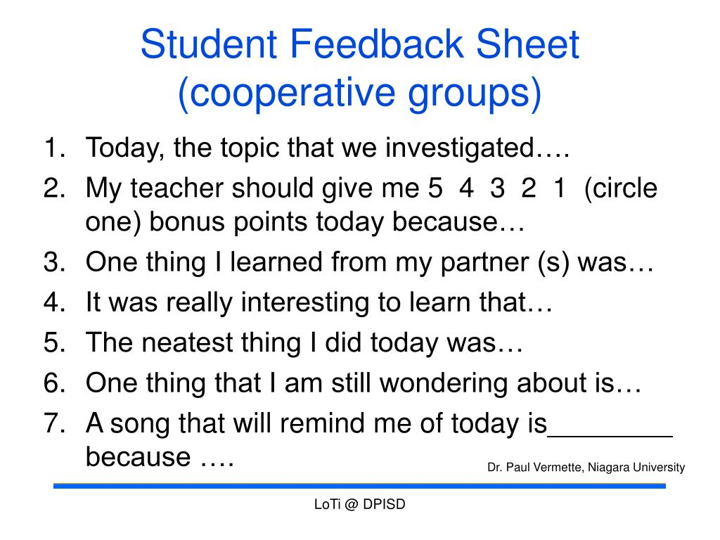 Student Feedback Sheet (cooperative groups)