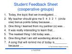 student feedback sheet cooperative groups