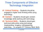 three components of effective technology integration
