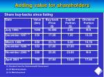 adding value for shareholders