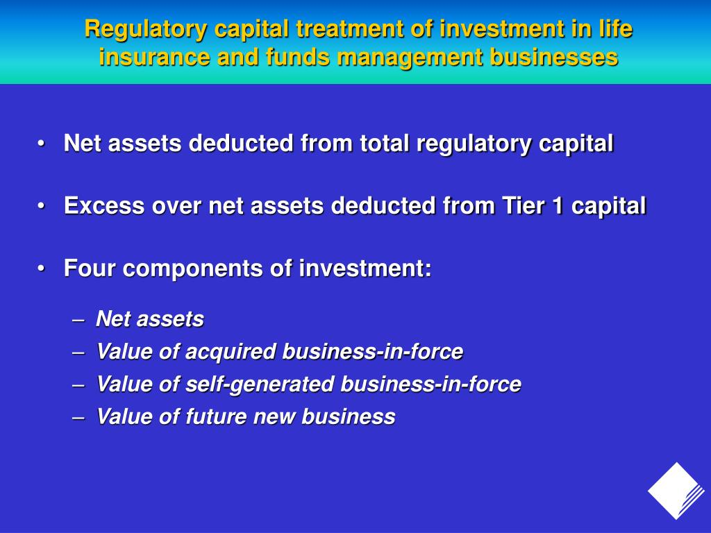 Regulatory capital treatment of investment in life insurance and funds management businesses