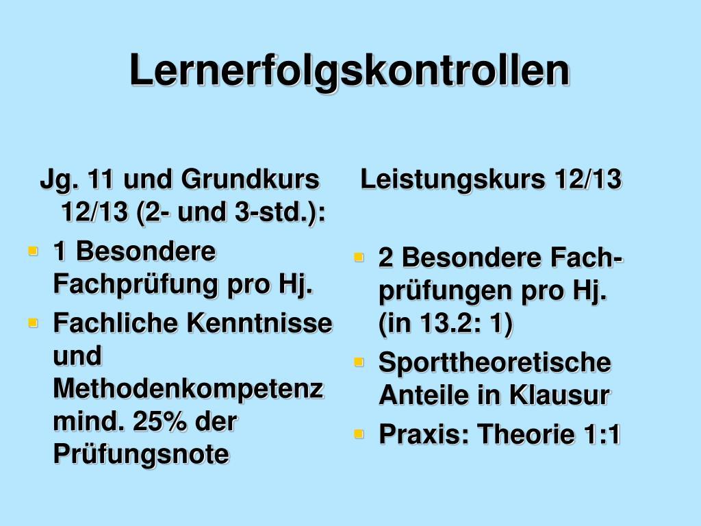 Jg. 11 und Grundkurs 12/13 (2- und 3-std.):