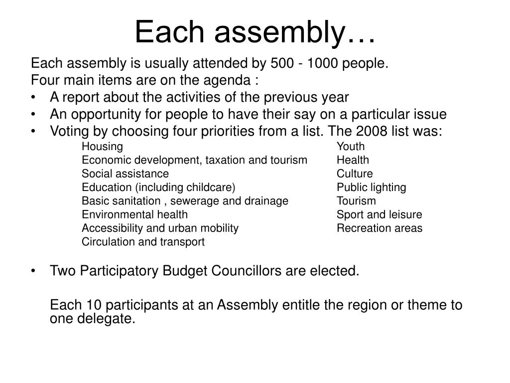 Each assembly…