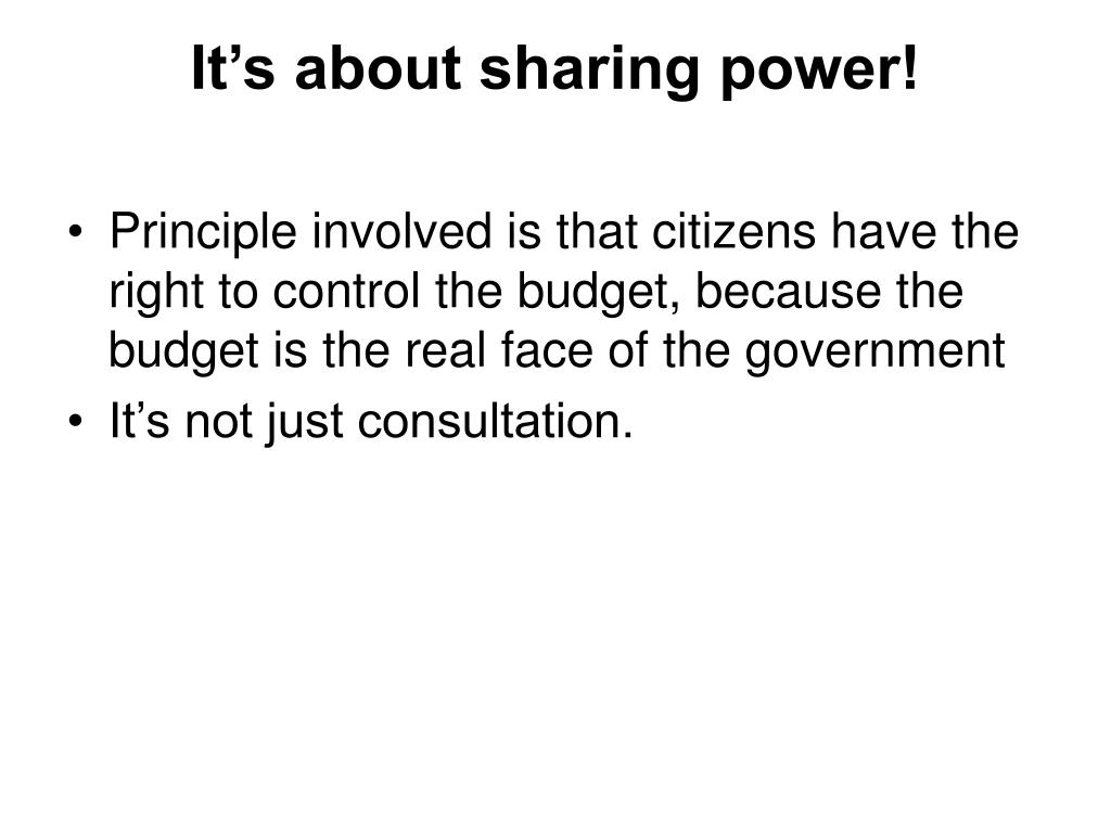 It's about sharing power!