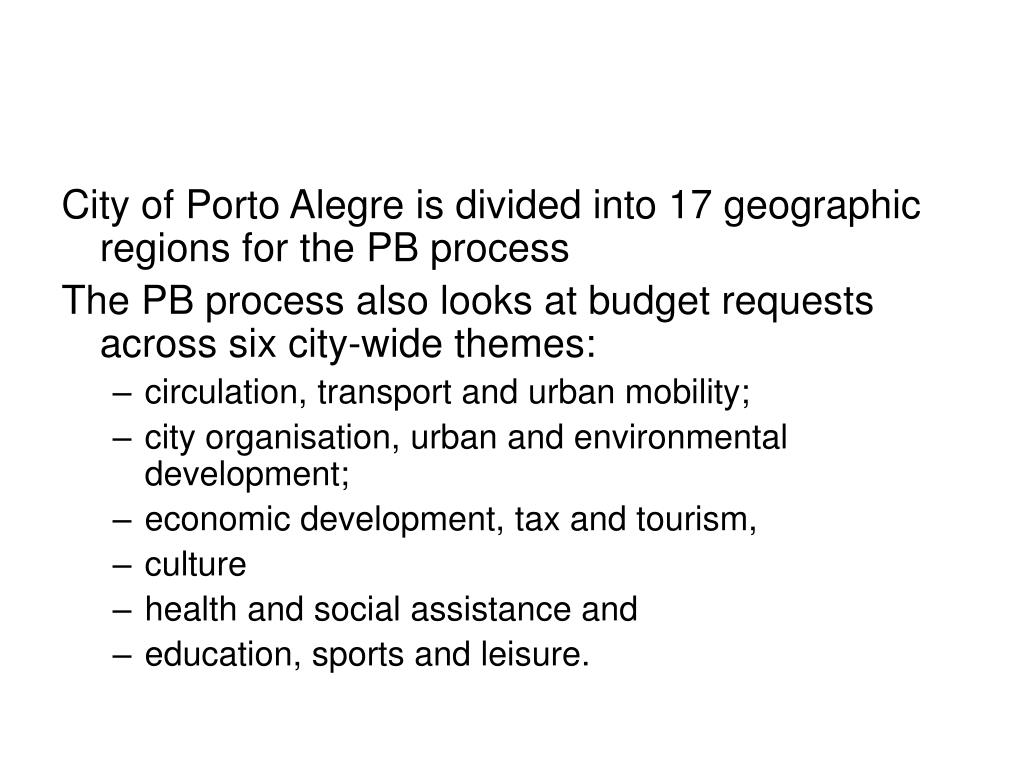 City of Porto Alegre is divided into 17 geographic regions for the PB process