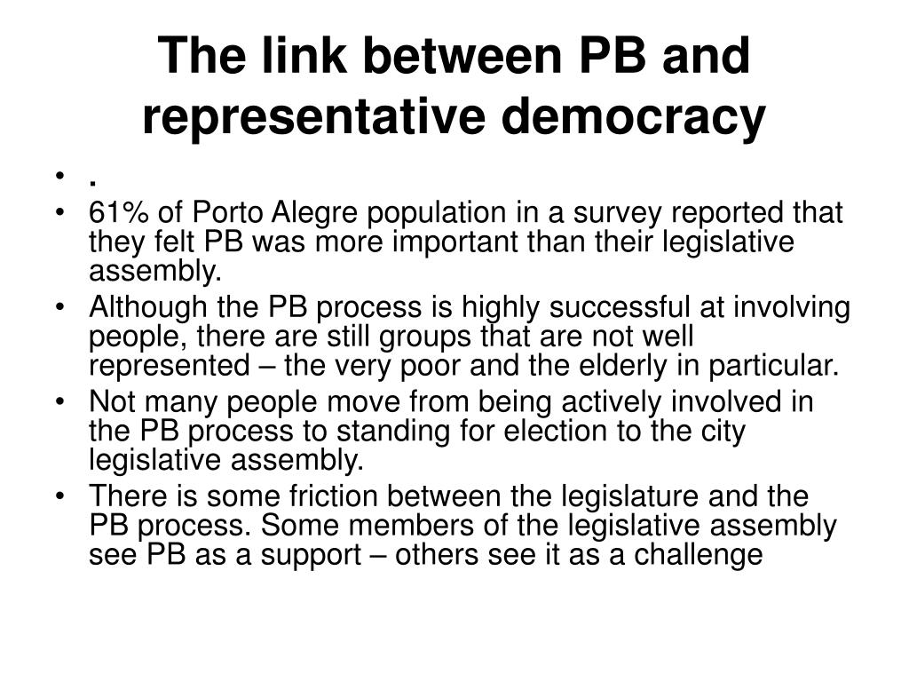 The link between PB and representative democracy