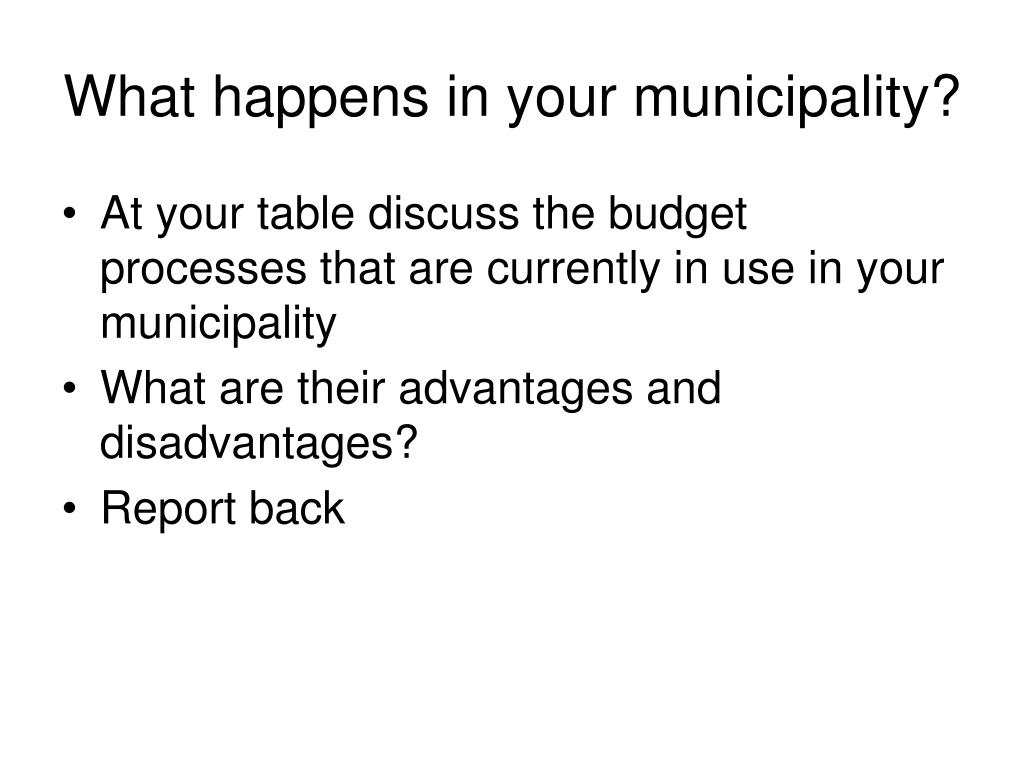 What happens in your municipality?