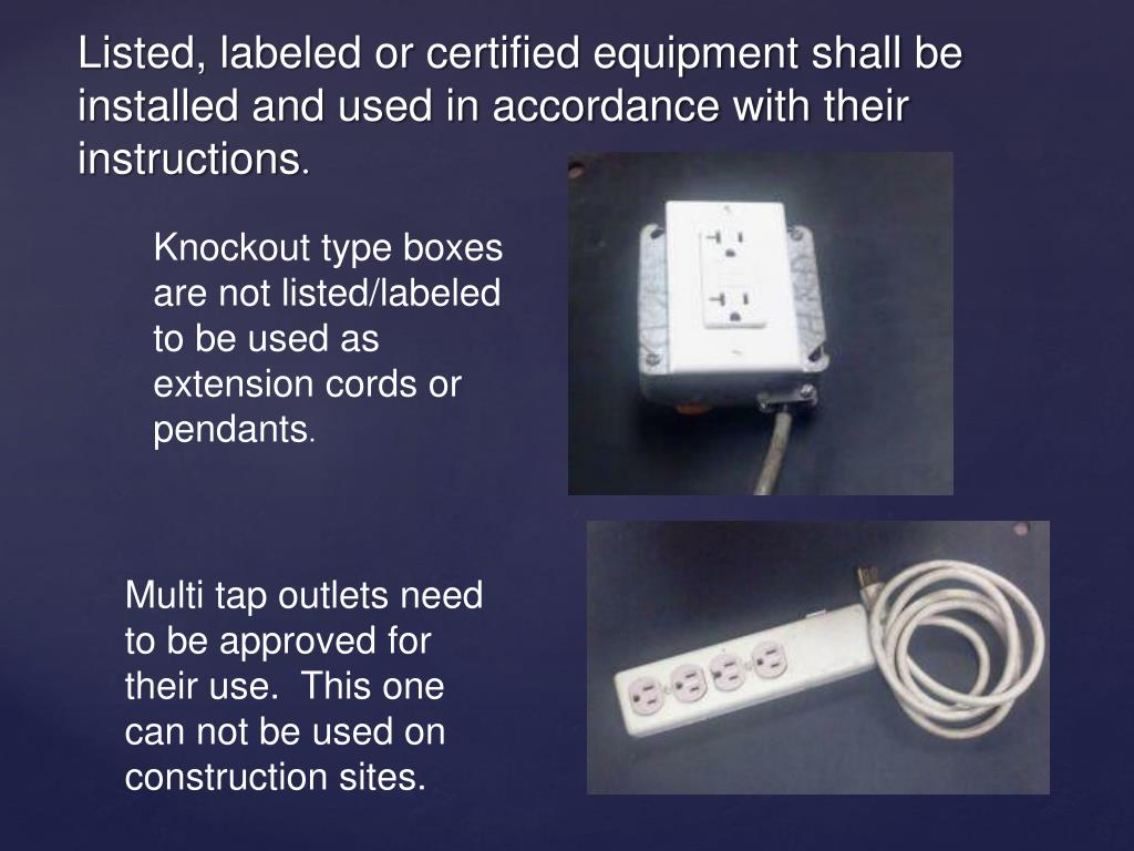 Knockout type boxes are not listed/labeled to be used as extension cords or pendants