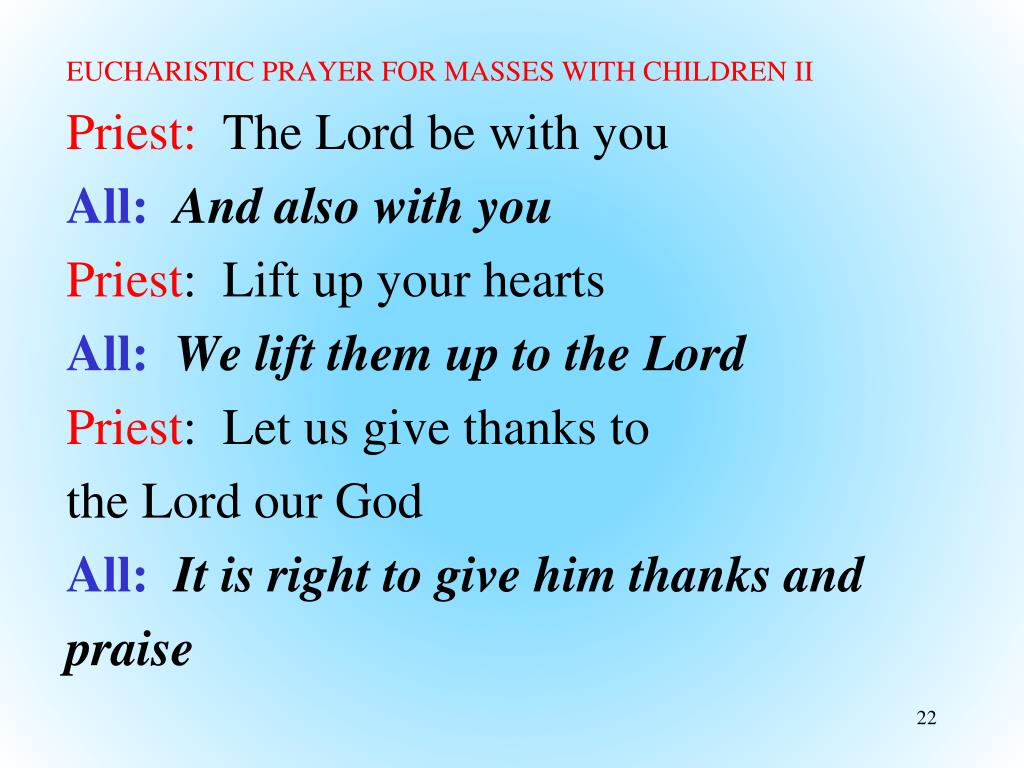 EUCHARISTIC PRAYER FOR MASSES WITH CHILDREN II