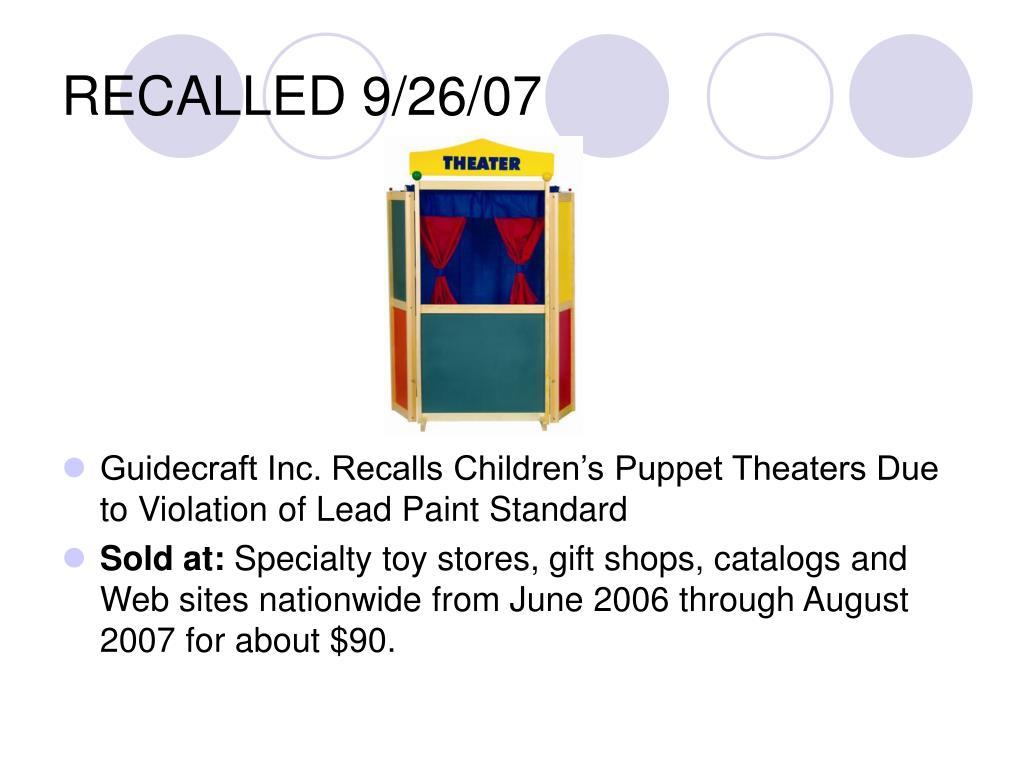 RECALLED 9/26/07