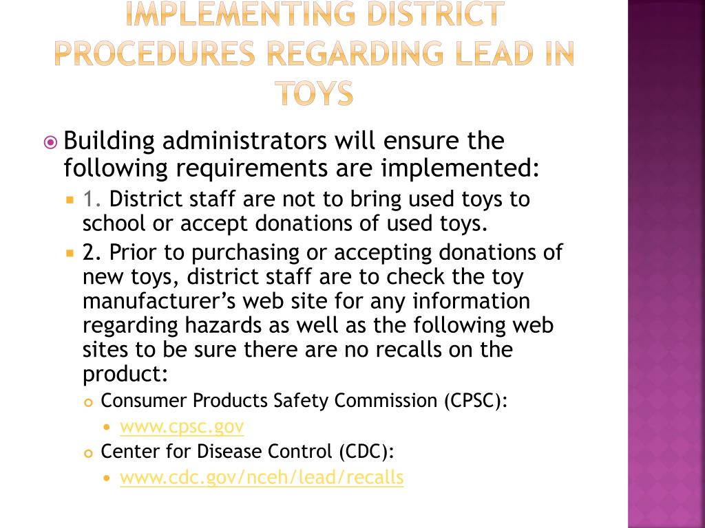 Implementing District Procedures Regarding Lead in Toys