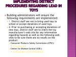 implementing district procedures regarding lead in toys