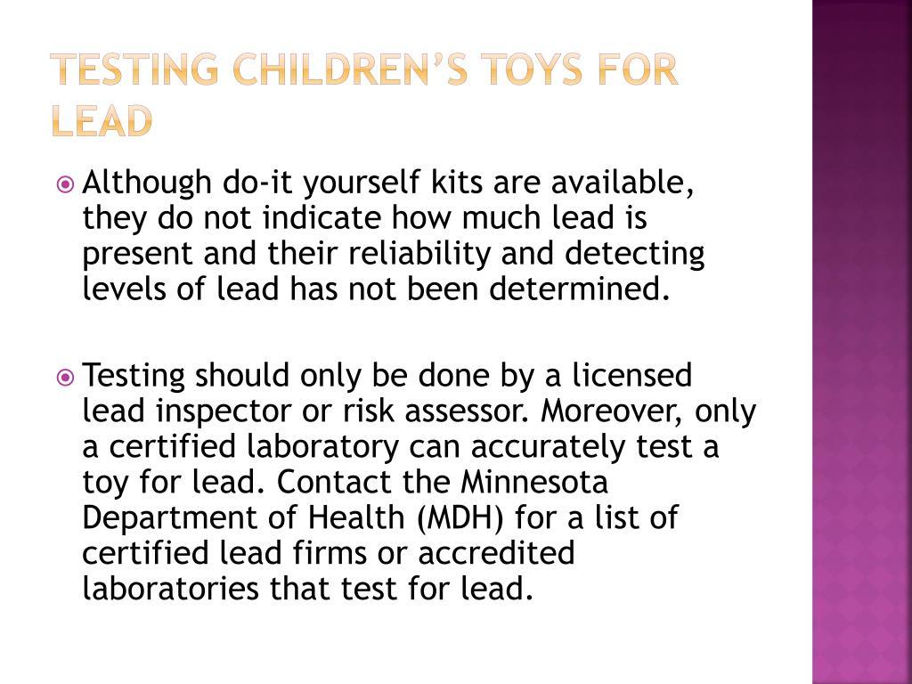 Testing Children's Toys for Lead