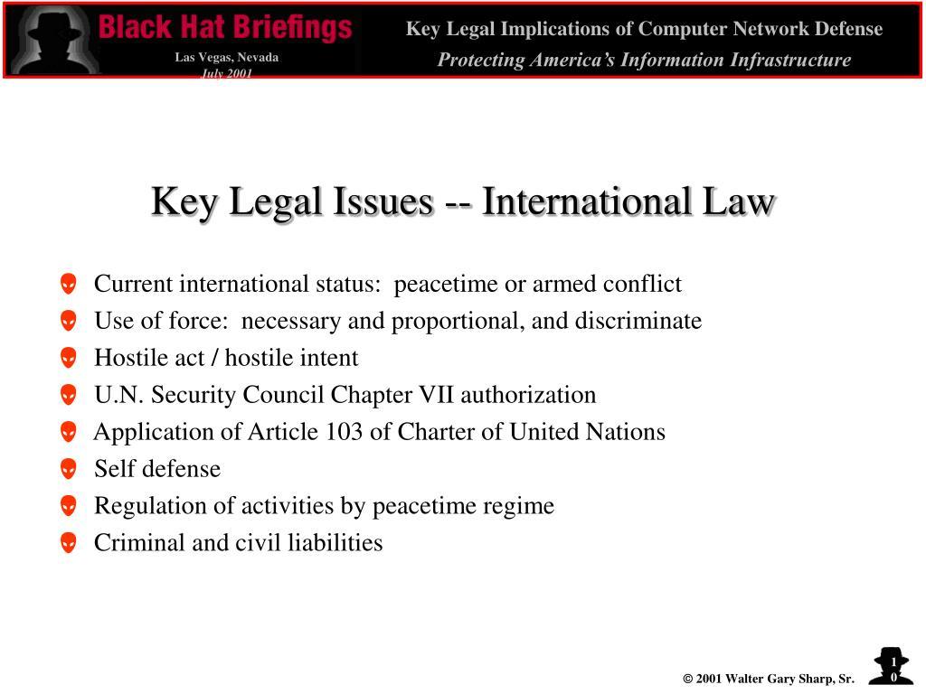 Key Legal Issues -- International Law