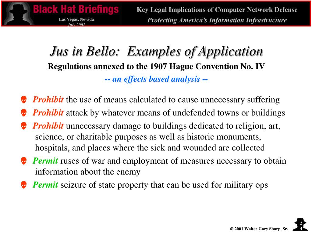 Jus in Bello:  Examples of Application