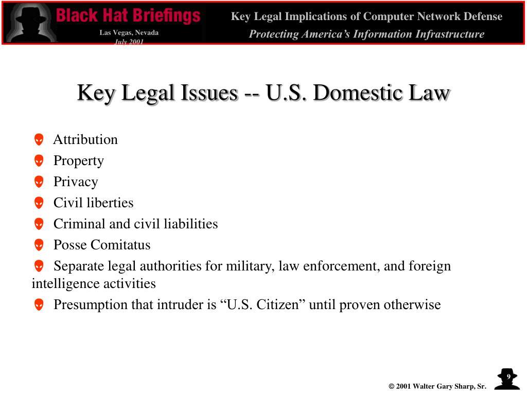 Key Legal Issues -- U.S. Domestic Law