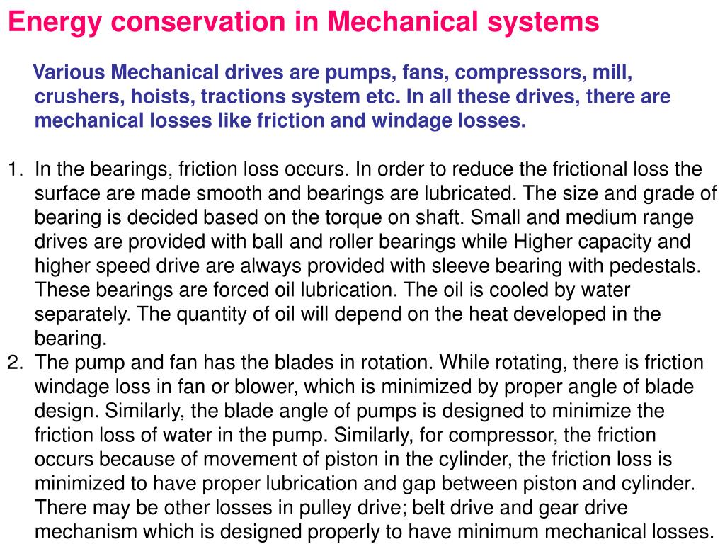 Energy conservation in Mechanical systems