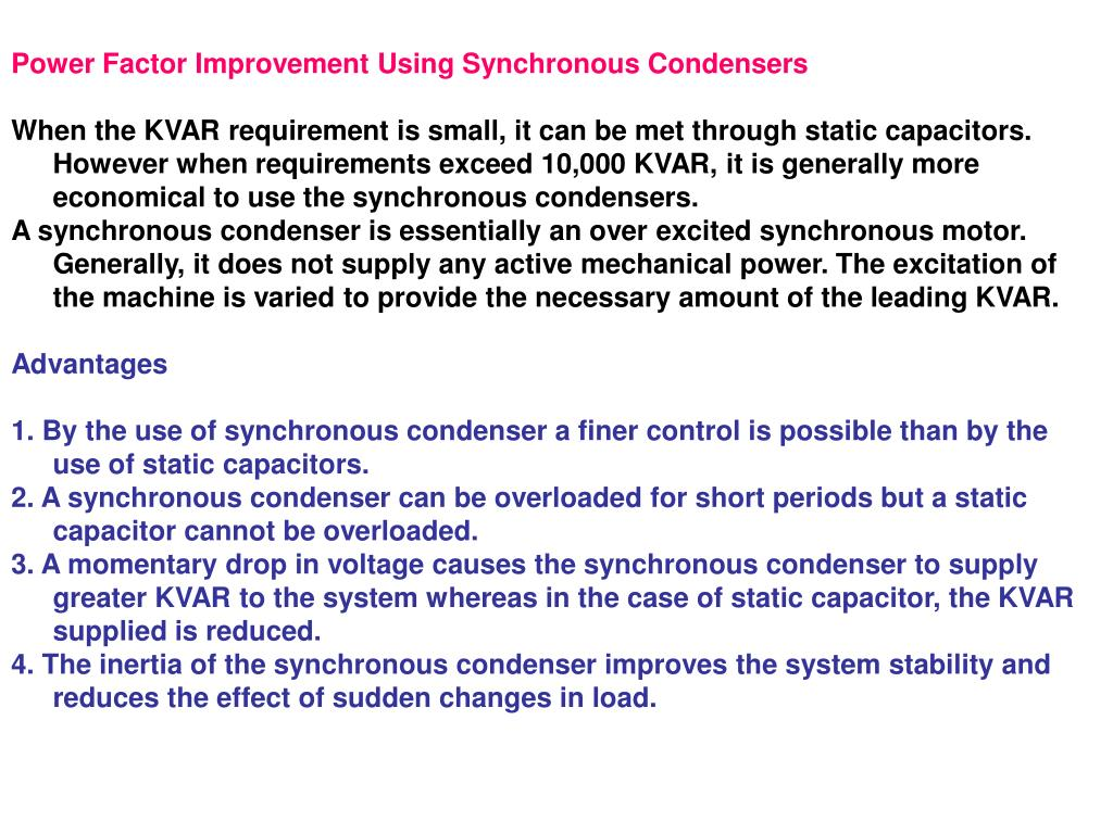 Power Factor Improvement Using Synchronous Condensers
